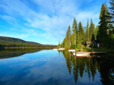 Learning to Be Content- House surrounded by trees as they are reflected with canoes on clear blue waters