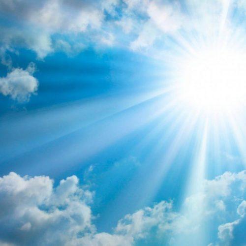 Let's Possess the First Steps- Shining sun peeking through blue sky