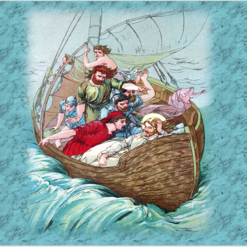 Have the Faith- Boat in stormy sea with men while Jesus is sleeping