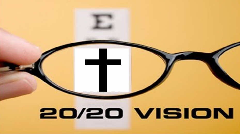 20/20 Vision- Eye chart on yellow background with eyeglass lens focusing on a black cross